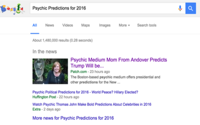Kelle Sutliff hits #1 on Google for her Psychic Predictions for 2016 out of 1.5 Million Psychics Predicting